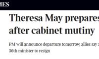 泰晤士报:特雷莎·梅预计将于明日宣布辞职