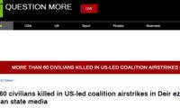 外媒:美国为首的联军对叙发起空袭 致至少62人死亡