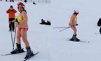 俄孕妇挺大肚穿比基尼滑雪 网友:孩子爸是北极熊?