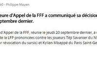 法国足协官方:维持原判!姆巴佩仍被禁赛3场
